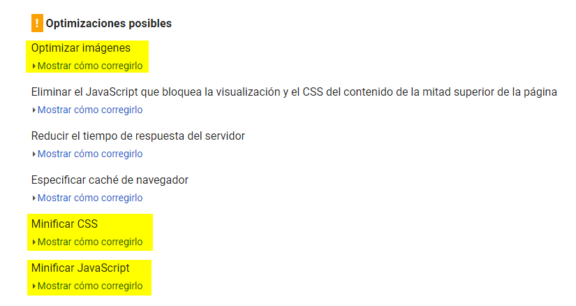 Optimizaciones posibles PageSpeed