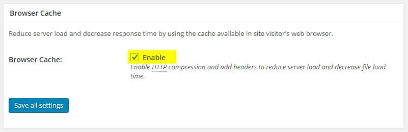 Browser cache W3 Total Cache