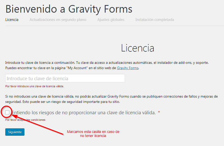 bypass Gravity Forms sin licencia