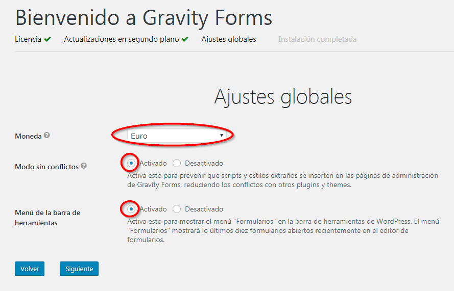 Ajustes Globales Gravity Forms