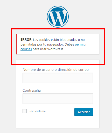 error cookies wordpress