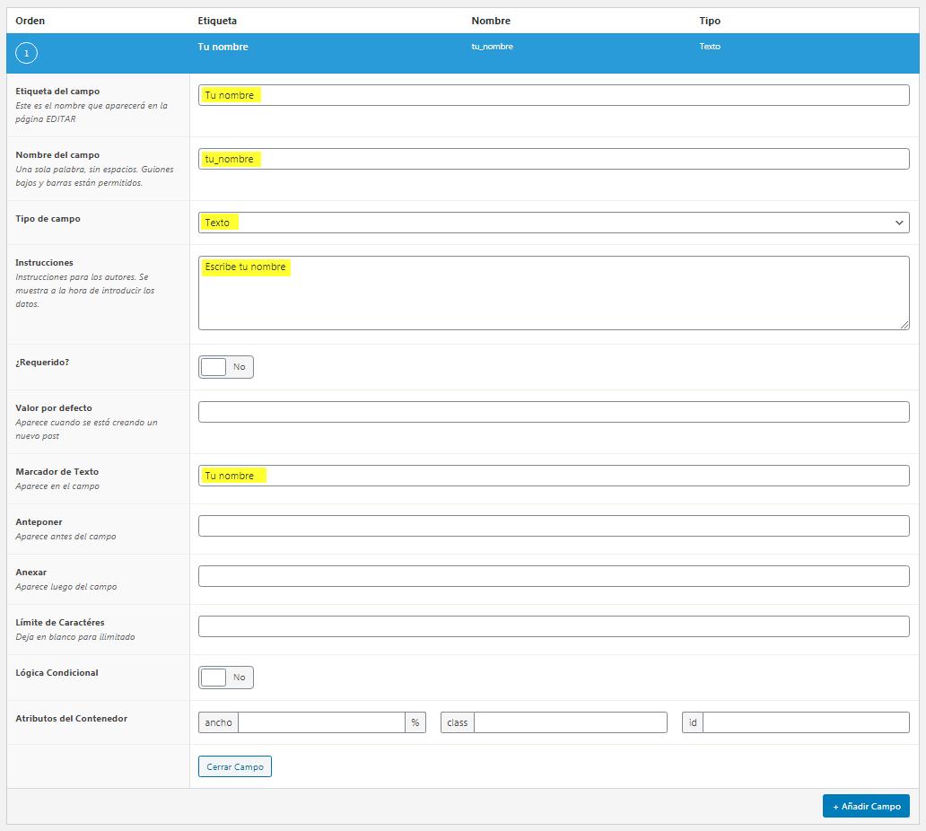 Añadir campo texto