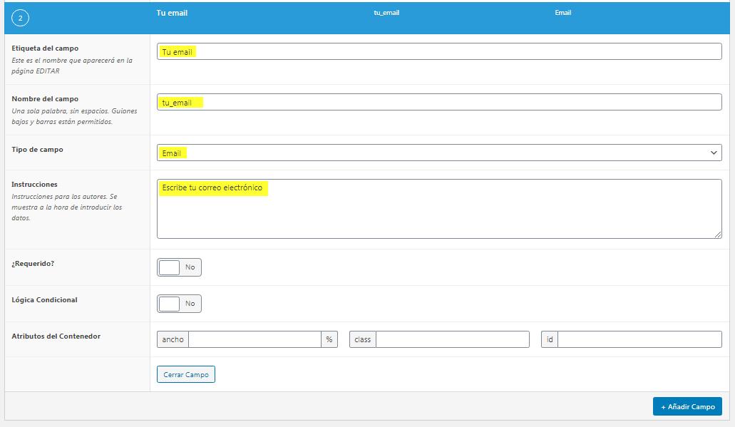 Añadir campo email