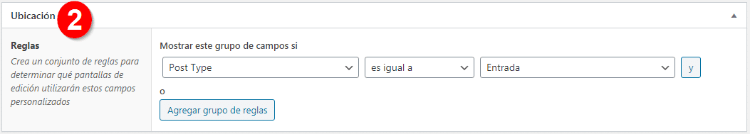 Configurar Ubicación en Advanced Custom Fields