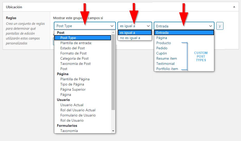 Reglas ubicación Advanced Custom Field