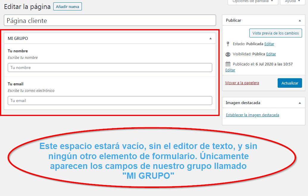Editar página cliente